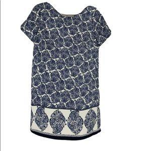 Lulus Women's XS Shift Dress White Blue Paisley